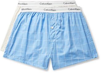 Calvin Klein Underwear Two-Pack Checked Cotton-Poplin Boxer Briefs