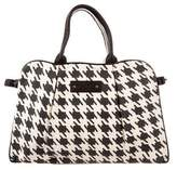 Mayle Leather-Trimmed Houndstooth Bag