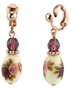 2028 Rose Gold Tone Purple Crystal Bead Flower Drop Clip Earrings