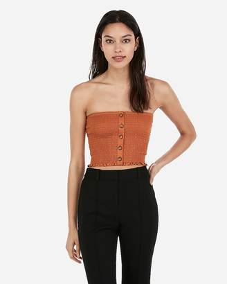 Express One Eleven Button Front Smocked Cropped Tube Top