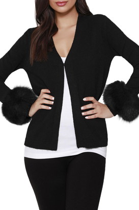 DOLCE CABO V-Neck Faux Fur Cuff Cardigan