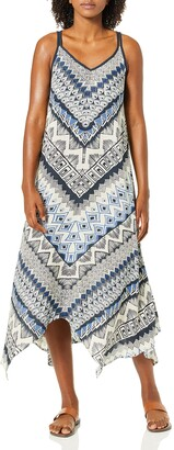 Angie Women's Blue Printed Maxi Dress Small