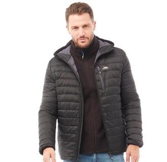 Trespass Mens Digby Down Fill Padded Hooded Jacket Black/Flint