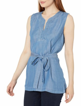 Chaus Women's Sleeveless Trapunto Stitch Belted Tencel Top