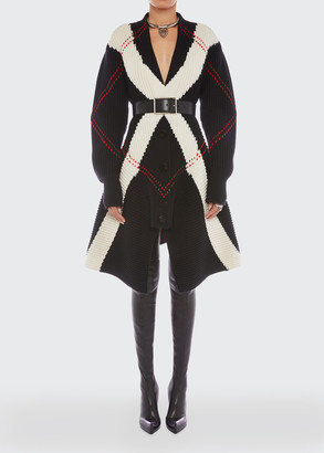 Alexander McQueen Argyle Intarsia Knit Wool-Cashmere Cardigan