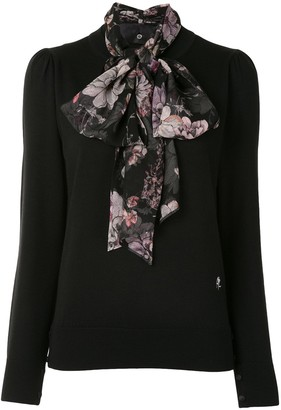 Adam Lippes Floral Pussy Bow Jumper