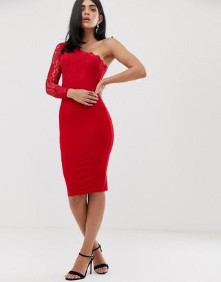 AX Paris one shoulder lace bodycon dress-Red