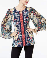JM Collection Petite Pleated-Sleeve Mixed-Print Tunic, Created for Macy's