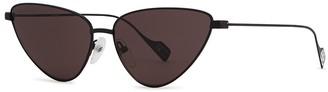 Balenciaga Matte Black Cat-eye Sunglasses
