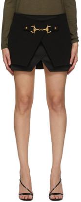 Balmain Black Crepe and Satin Miniskirt
