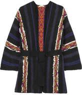 Mes Demoiselles Habibi Sequin-embellished Belted Wool-blend Cardigan - Black
