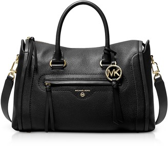Michael Kors Black Pebbled Leather Carine Medium Satchel