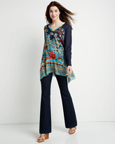 Johnny Was Mixed Floral Print Tunic, Navy