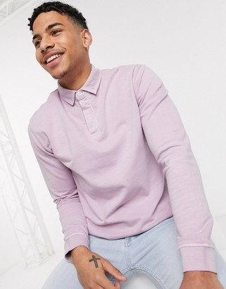 Topman rugby shirt in washed lilac