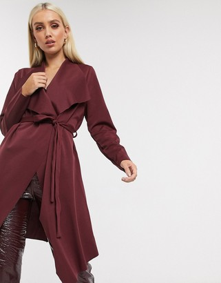 Lipsy duster jacket in burgundy