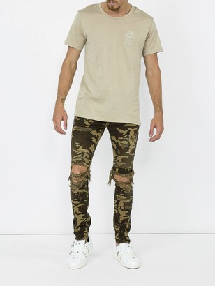 Balmain Distressed Camouflage Jeans Green