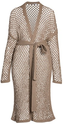 Agnona Open Weave Cashmere Long Belted Cardigan