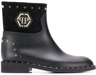 Philipp Plein Logo studded boots