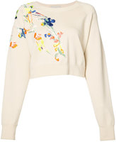 Jason Wu embroidered flowers sweatshirt - women - Merino - XS