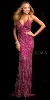 Scala Open Back Embellished Evening Dress