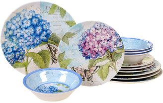 Certified International Melanine Hydrangea Garden 12 Pc Dinnerware Set