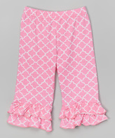 Flap Happy Trellis Pink Double-Ruffle Capris - Infant Toddler & Girls