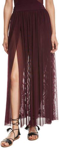 Aspire Layered Mesh Maxi Coverup Skirt- Purple