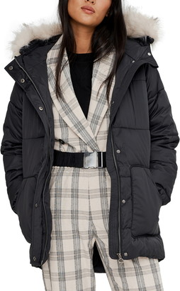 Noize Anika Belted Hooded Parka with Faux Fur Trim