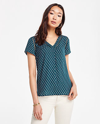 Ann Taylor Geo Cutout Mixed Media Top