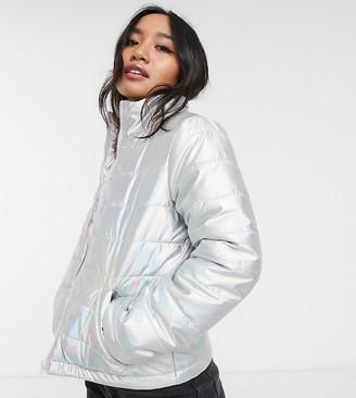 Brave Soul Petite hologram padded jacket