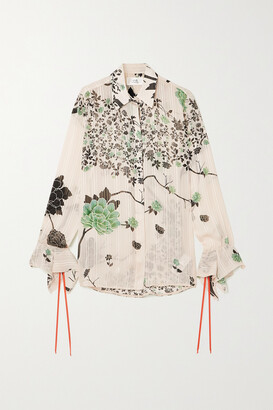 VICTORIA, VICTORIA BECKHAM - Floral-print Crepon Shirt - Cream