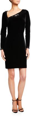 Love, Theia Asymmetric Long-Sleeve X-Back Velvet Dress with Sequins
