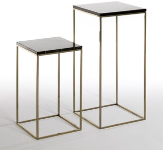 Am.pm. MAHAUT Marble Top Metal Nesting Tables (Set of 2)