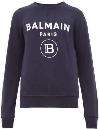Balmain Flocked Logo Cotton Sweatshirt - Mens - Navy