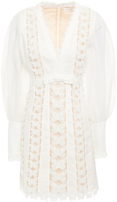 Zimmermann Bow-embellished Linen And Guipure Lace Mini Dress