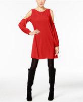 ECI Crepe Cold-Shoulder Shift Dress
