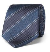 Canali 8cm Striped Silk-jacquard Tie - Navy