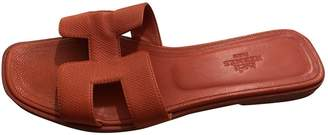 Hermes Oran Red Leather Sandals