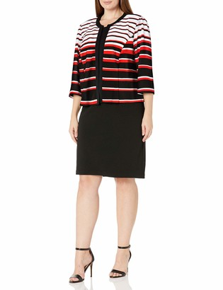 Sandra Darren Women's Plus Size 2 Pc 3/4 Sleeve Striped Sheath Jacket Belted Dress