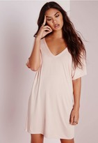 Missguided Wide V Neck T-Shirt Dress Nude