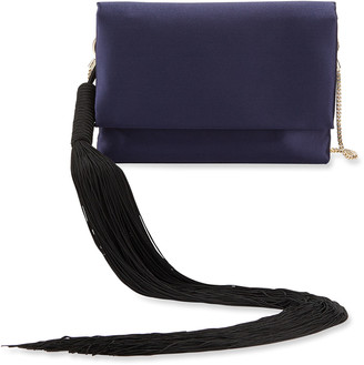 Galvan Small Satin Shoulder Bag with Tassel