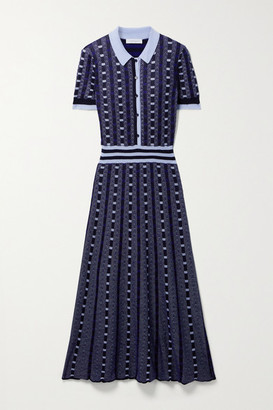 Gabriela Hearst Elvis Jacquard-knit Cashmere And Silk-blend Shirt Dress - Navy
