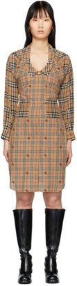 Burberry Beige Check Sleeves Dress