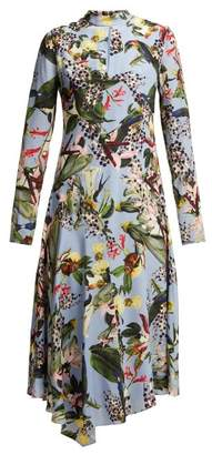 Erdem Sinclaire Facette Dream Bird-print Silk Midi Dress - Womens - Blue Multi