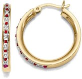 Goldia Sterling Silver & Gold-plated Natural Diamond & Natural Ruby Round Hoop Earrings