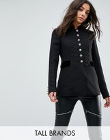 Glamorous Tall Tailored Military Blazer With Metal Trims