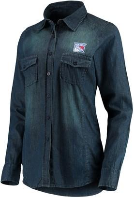 Antigua Women's Denim New York Rangers Outlook Long Sleeve Button-Up Shirt