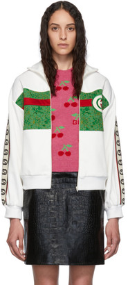 Gucci White and Green Lace Embroidered Zip-Up Sweater