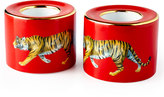Halcyon Days Tiger Red Tea Light Holders, Set of 2