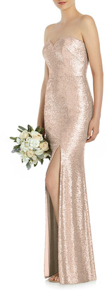 Dessy Collection Sequin Strapless Sweetheart Column Gown